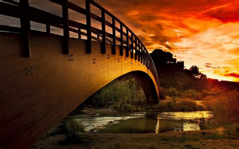 Nice Super Bridge on River and Sunset View Wallpapers | HD ...