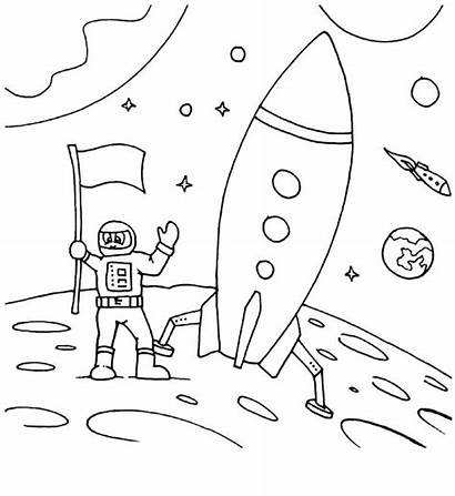 Coloring Space Astronaut Pages Travel Moon Land