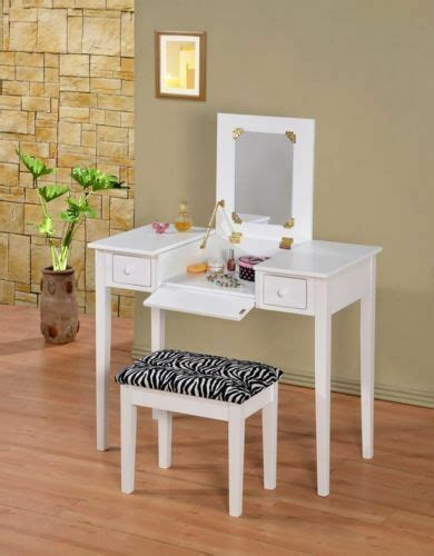Vanity And Stool Sets by Contemporary Vanity Set With Flip Mirror Top And Zebra