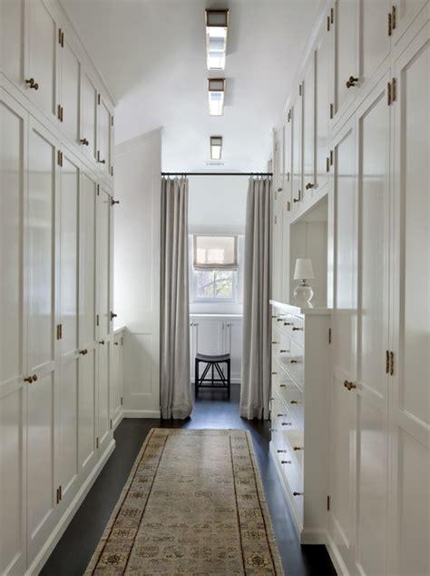 narrow walk  closet design ideas