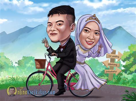 karikatur weddingprewedding jasa karikatur  terbaik