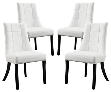 noblesse vinyl dining chair set of 4 in white dining