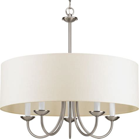 Chandelier With Sheer Drum Shade by Five Light Brushed Nickel White Glass Drum Shade
