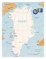 Detailed political map of Greenland with cities and ...