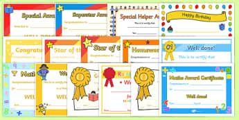 award  certificate templates  kids primary resource