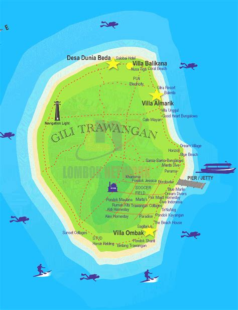 map  gili trawangan lombok indonesia  guide