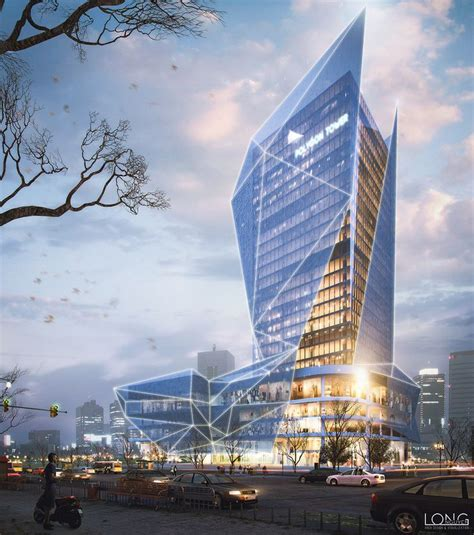 polygon office tower  behance architecture render