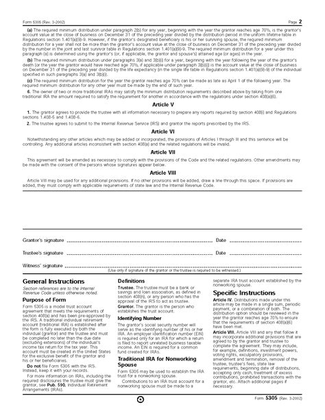 form 5305 traditional individual retirement trust account