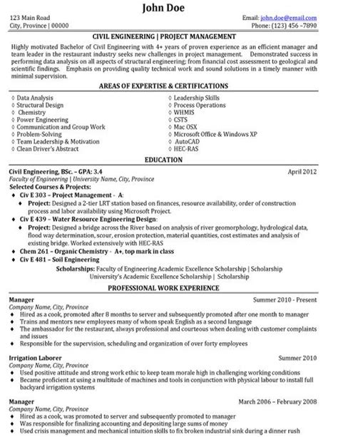 resume format for student enginers civil engineering project management resume template