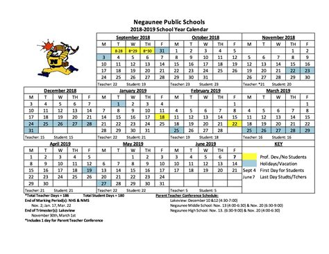 school calendar negaunee public schools