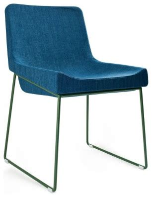 irving chair blue fabric on green modern dining