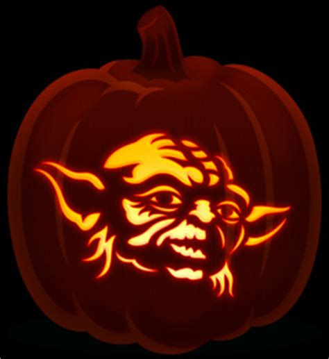 yoda pumkin stencil orange and black pumpkins