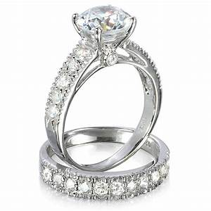Eve39s vintage style cubic zirconia wedding ring set only for Real wedding ring