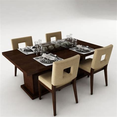 3d Model Dining Table Set Architectural Cgtrader