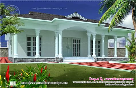 one floor house 1600 sq ft single 3 bed room villa kerala home