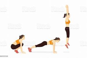 Exercise Guide With Woman Doing The Squat Thrust Burpee
