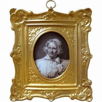 Miniature Portrait Antique Painting Classical Danish Sculptor