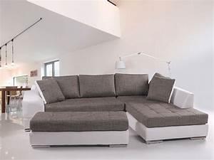Couch Weiß Grau : hugo sofa kunstleder weiss webstoff grau ottomane rechts ~ Watch28wear.com Haus und Dekorationen