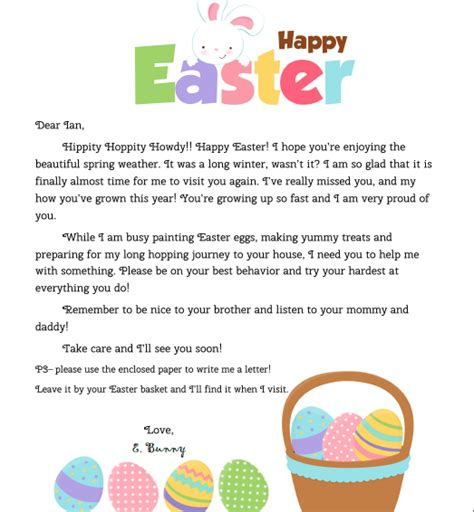personalized letter   easter bunny   child