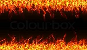 Seamless fire and flame border on the black background