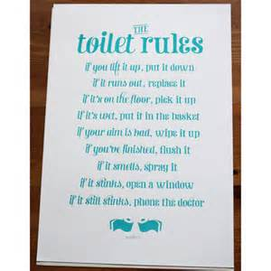 Funny Bathroom Stall Art by The Toilet Rules Handmade Silk Screen Print Folksy