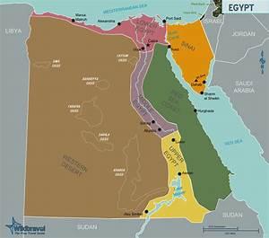 Landkarte Ägypten (Übersichtskarte/Regionen) : Weltkarte ...