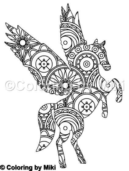 unicorn mandala coloring page  coloring  miki
