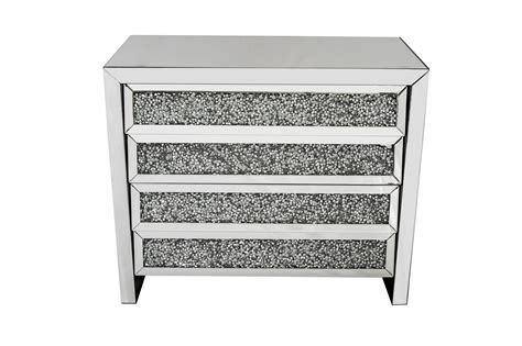 Crushed Glass Crushed Glass 4 Drawer Chest Of Drawers