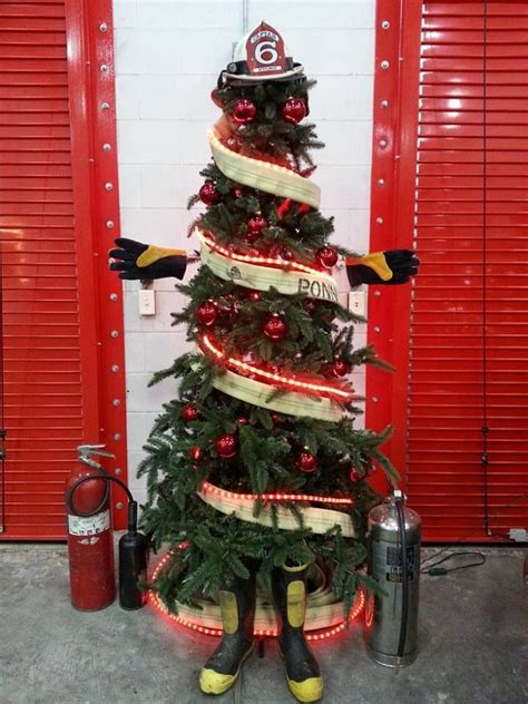 firefighter christmas tree very cool pinterest