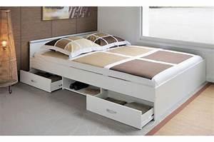 Lit Tiroir Adulte : lit adulte 140x200 cm 2 tiroirs 1 niche de rangement ~ Teatrodelosmanantiales.com Idées de Décoration