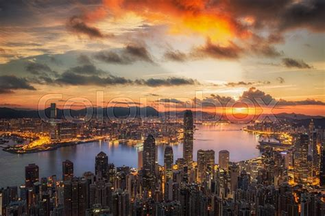 sunrise victoria harbor viewed atop victoria peak hong