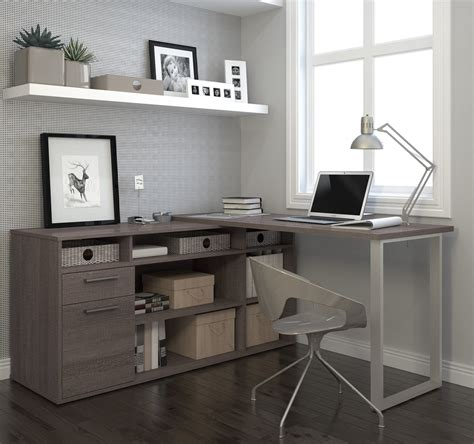 L Table With Storage by Modern L Shaped Desk With Integrated Storage In Bark Gray