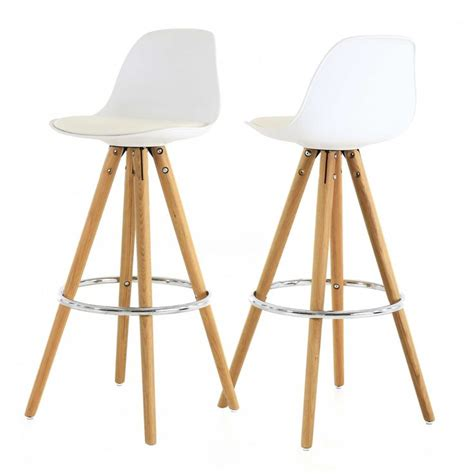 siege suedois chaise haute de bar blanche trépied en bois style