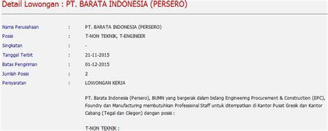 lowongan kerja bumn pt barata indonesia persero