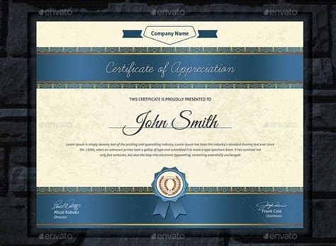 professional certificate template psd indesign