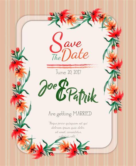 Free Vector Watercolor floral wedding invitation card