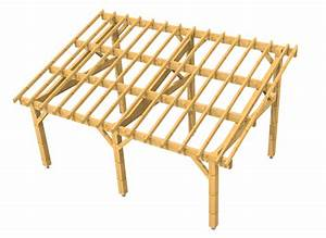 auvent terrasse appenti bois carport tradi With maison en palette plan 15 charpente bois toit plat mzaol