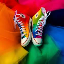 rainbow high top converse