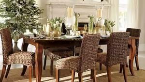 Long Brown Wooden Table Plus Dark Brown Wicker Chairs