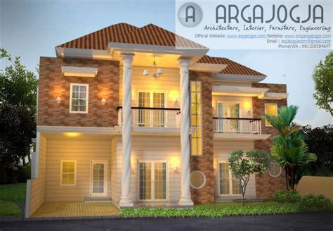 desain eksterior fasad rumah  lantai klasik modern lahan