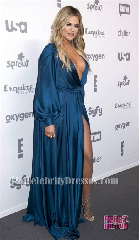 Khloe Kardashian Deep V-Neck Evening Dress 2015 ...