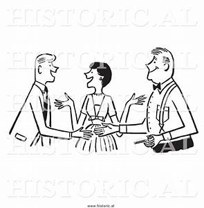 Clipart of a Smiling Lady Introducing Two Guys - Black and ...