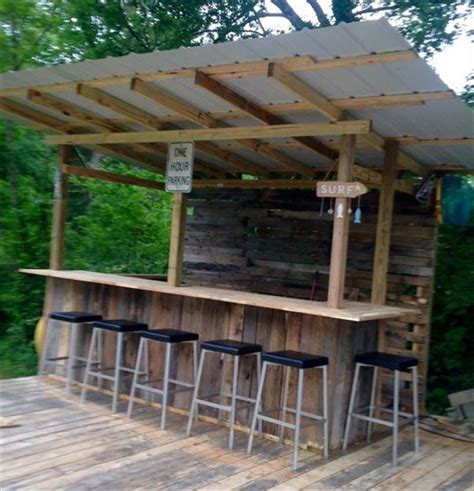 Wooden Patio Bar Ideas by Diy Wooden Pallet Outdoor Bar Collections Recycled