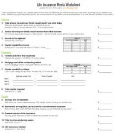 Term Insurance Estimate by Insurance Worksheet