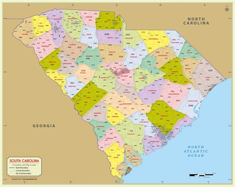south carolina zip code map  counties