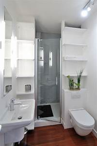houzz small bathrooms Bathroom Contemporary with tagres blanches Douche avec bac