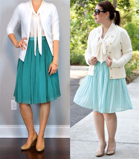 Outfit post white cardigan white tie neck blouse teal midi skirt nude pumps