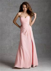 Sheath sweetheart strapless long light pink chiffon for Light pink dress for wedding guest