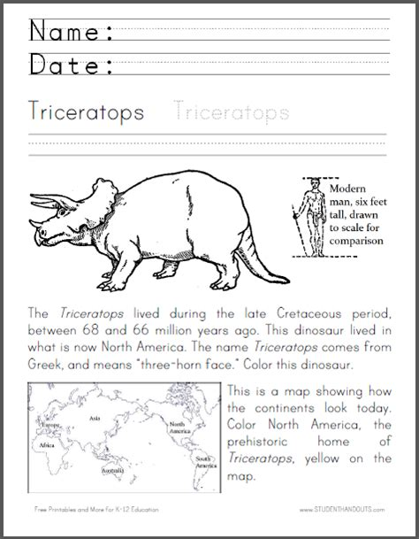 triceratops coloring worksheet fun cross curricular