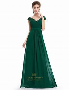 Emerald green v neck bridesmaid dresses with beaded lace for Emerald green wedding dress
